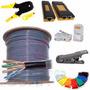 Kit 8en1 Cable Utp 5e Exterior Pinza Testr Plug Bota Pelador
