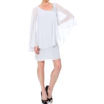 Vestido Fino Blanco Arena Novia Gasa Elegante Talla 7 Boda
