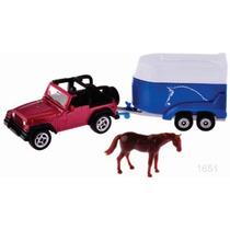 Siku Jeep C/remolque Caballo 1/64 Diecast Metal / Hotwheels