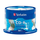 Torre Cd Verbatim 50pz Cd-r 700mb 52x Imprimible Plata 95005