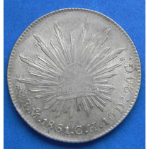 Moneda Mexico 8 Reales 1861 C H Plata Excelente Condicion