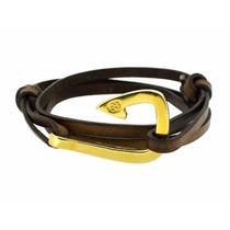 Pulsera De Hombre Gaeta Hook Piel Castellamare Choco Oro