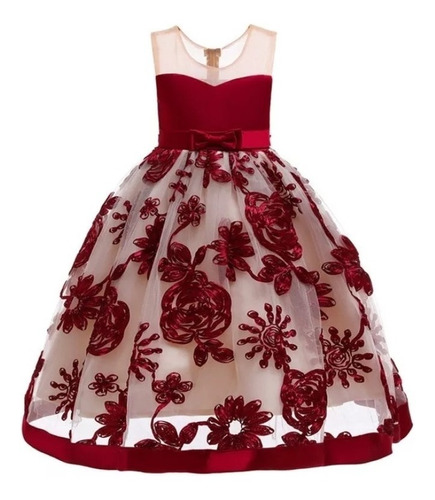 Vestido De Fiesta Para Niña Vestido Niña Color Vino Guinda