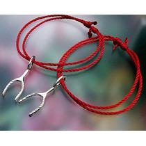 2 Pulseras Rojo Ajustable Dije Wishbone Deseo Suerte Plata