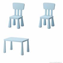 Juego Ikea Mammut Mesa Con 2 Sillas Infatil Plástico Azul
