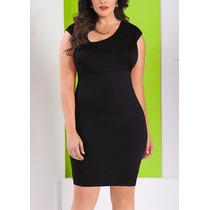 Curvilineas Vestido Negro Con Faja Integrada Tallas Extras