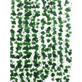 Follaje Artificial Guía Hiedra 2.1m Muro Verde Enredadera 12 Piezas Envio Gratis