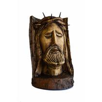 Rostro D Jesus Tallado A Mano En Madera Aniversario Luctuoso