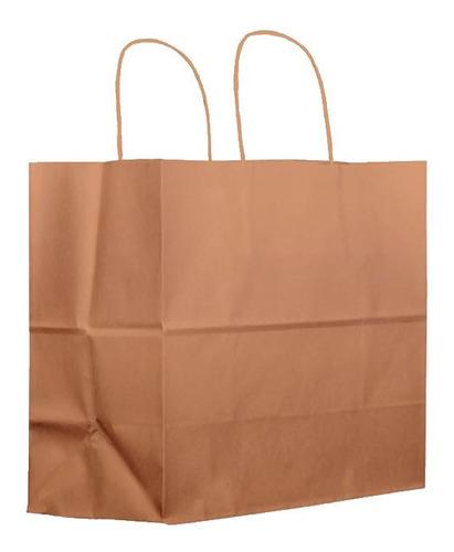 10 Bolsas C Asa Papel Kraft Alimentos 24.4x37x13.5cm Mediana