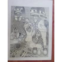 Dibujos A Lapiz De Escena En Mercado Del Pueblo