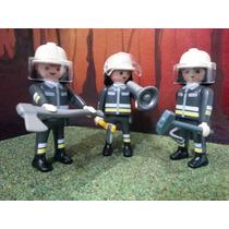 Playmobil Equipo De Bomberos Con Herramientas Ciudad Js
