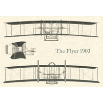 Lienzo Tela Avión Hermanos Wright 1903 The Flyer 50 X 72 Cm