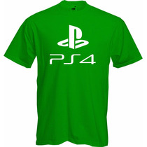 Playera Ps4 Play Station 4 Verde Sony T Shirt Green Gamer