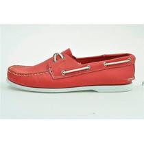 Zapato De Piel Top Sailer Modelo 101 Rojo