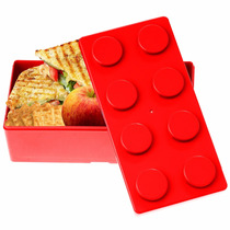 Topper Dulcero Lonchera Multiusos Forma Lego Rojo H3193