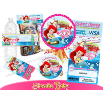 Invitaciones La Sirenita =1kit Imprimible Personalizado Vv4