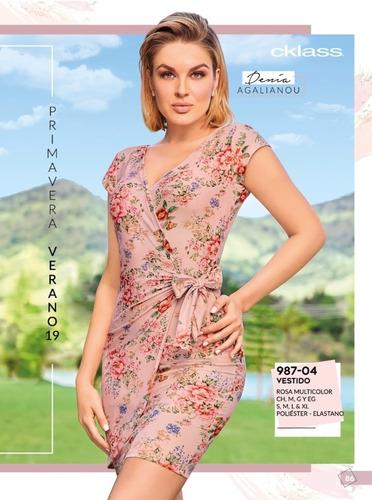 Vestido Floral Cruzado 987 04 Cklass Pvbs 2019 En Venta En