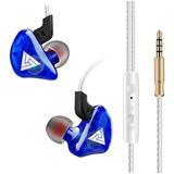 Audífonos Monitor Inear Qkz Azul Ck5 Superbass Micro Estuche