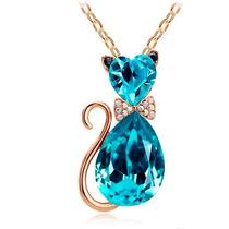 Gato Collar Dije Gatito Azul Celeste Cristal Austriaco