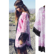 Suku 21011 Bonito Kimono Estampado Con Flecos Moda Asia $649