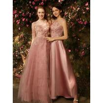 Hermoso Vestido De Noche Color Palo De Rosa Talla Extras En