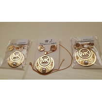 3a46bf3f381f Aretes Y Collar En Acero Laminado En Oro Modelos  2 Al  4 en venta ...