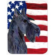 Bandera Ee.uu. De América Con Scottish Terrier De Cristal T