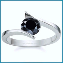 Anillo De Compromiso Diamante Natural Negro Oro 10k -50% 019