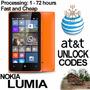 At&t Todos Nokia Lumia 520 635 830 920 925 1200 1520 Code