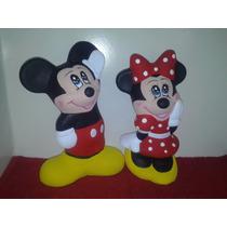 Recuerdos Alcancias De Mickey Y Minnie Pintadas Paq. 12 Pzas