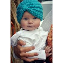 Hermoso Gorro Tipo Turbante De Bebé Niña Tejidos A Mano