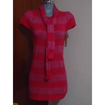 Precioso Y Fino Vestido Tejido Corto Color Rosa 28 30 Dama