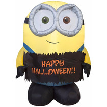 Minion Inflable 3 Ft Minion Bob Holding Happy Halloween