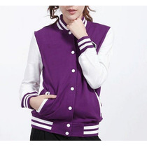 Chamarra Universitaria, Morada, Slim-fit Jacket College,