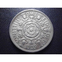 Reino Unido 2 Coronas Fecha 1959 Niquel 28mm