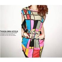 Vestido Corto Cuadros De Colores Fashion 2016