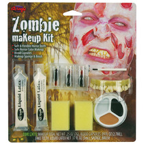 Zombie Traje - Hombre Make Up Kit Con Falsos Dientes Superio