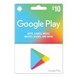 Tarjetas De Regalo Google Play (gift Card) 10 Usd/region Usa