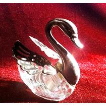 Cisne De Pewter Con Cuerpo De Cristal