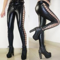 Leggins Latex Pvc Brilloso Pantalones Malla Leggings Negro
