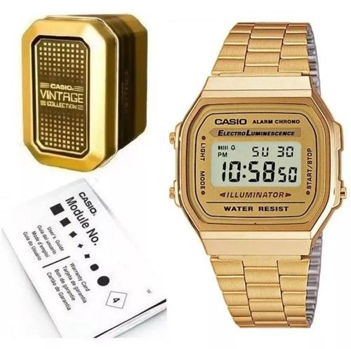 915d184b0259 Reloj Casio Vintage A168 Retro Dorado Estuche Metal Original
