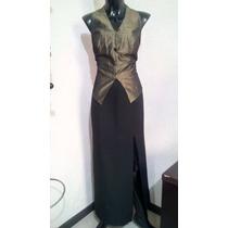Vestido De Fiesta Lindo Negro Con Verde Talla 32
