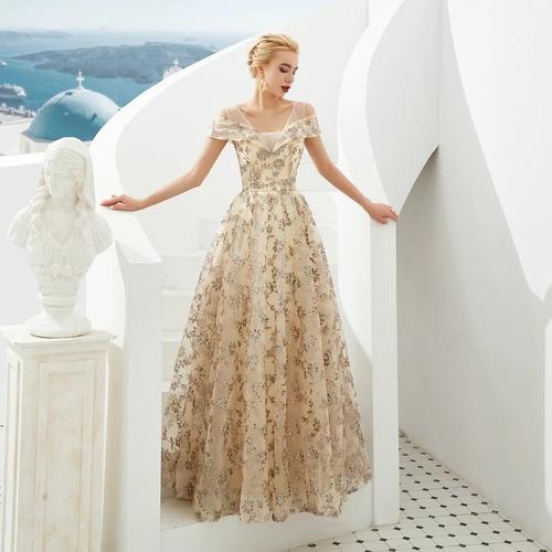 Vestido Noche Dorado Tallas Extra Grande Disponibles En