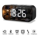 Reloj Despertador Digital Bocina Bluetooth Negro