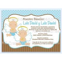 Kit Imprimible Bautizo Niño Niña Invitacion Gemelos
