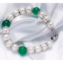 Pulseras De Perlas Naturales Con Agata Verde+regalo!!!