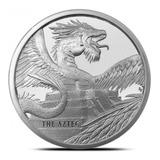 Moneda 1 Oz Plata Pura 999.9 Dragon Azteca