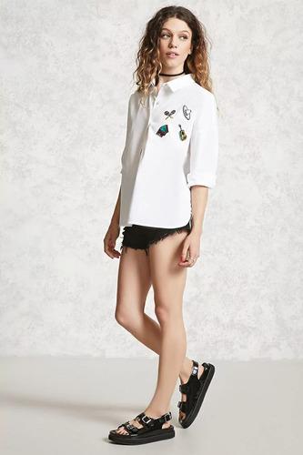 9fb9bc4b8893 Forever 21 Blusa Camisa Blanca Grabado Mexicano Colores S Ch en ...