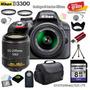 Camara Nikon D3300 + 18-55mm + 55-200mm + 13 Accesorios