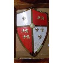 Escudo Medieval Ingles-frances Elegante Metalico Tamaño Real